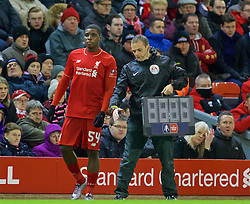 LIVERPOOL, ENGLAND - Saturday, January 30, 2016: Liverpool's substitute Sheyi Ojo prepares to come on against West Ham United during the FA Cup 4th Round match at Anfield. (Pic by David Rawcliffe/Propaganda)