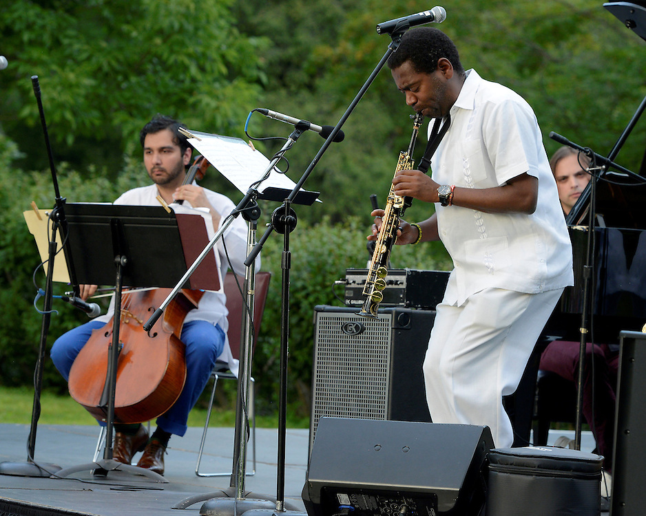 Yosvany Terry playing a summer concert with his trio in the garden of The Rockefeller Brothers Fund's Pocantico Center near Tarrytown, New York