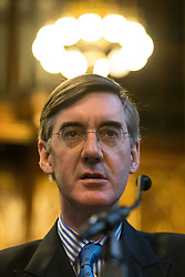 © Licensed to London News Pictures . 02/10/2017. Manchester, UK. JACOB REES-MOGG speaks at a fringe , right-wing Bruges Group event at Manchester Town Hall during the second day of the Conservative Party Conference at the Manchester Central Convention Centre . Photo credit: Joel Goodman/LNP