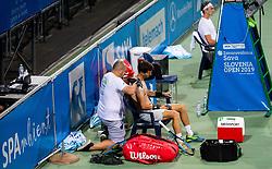 Aljaz Bedene of Slovenia receiving medical treatment  by Dejan Kumar during Singles in Quarter - Final of ATP Challenger Zavarovalnica Sava Slovenia Open 2019, day 8, on August 16, 2019 in Sports centre, Portoroz/Portorose, Slovenia. Photo by Vid Ponikvar / Sportida