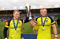 Matthew Tait and Luke Hamilton of Leicester Tigers with the Anglo-Welsh Cup trophy - Mandatory byline: Patrick Khachfe/JMP - 07966 386802 - 19/03/2017 - RUGBY UNION - The Twickenham Stoop - London, England - Exeter Chiefs v Leicester Tigers - Anglo-Welsh Cup Final.