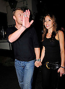 20.JULY.2009 - LONDON<br /> <br /> FRESH FROM HIS 5 WICKETS IN THE 2ND ASHES TEST VS AUSTRALIA AT LORDS CRICKET GROUND ANDREW 'FREDDIE' FLINTOFF AND HIS WIFE RACHEL CELEBRATE THE WIN BY GOING TO GUY RITCHIE'S PUB THE PUNCHBOWL, MAYFAIR WHERE THEY STAYED UNTILL 12.30AM AND LEFT LOOKING A BIT WORSE FOR WEAR BEFORE RETURNING TO THEIR HOTEL.<br /> <br /> BYLINE: EDBIMAGEARCHIVE.COM<br /> <br /> *THIS IMAGE IS STRICTLY FOR UK NEWSPAPERS &amp; MAGAZINES ONLY*<br /> *FOR WORLDWIDE SALES &amp; WEB USE PLEASE CONTACT EDBIMAGEARCHIVE - 0208 954 5968*