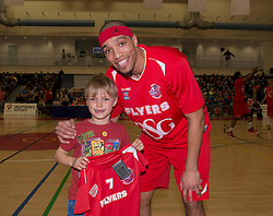 A Bristol 7 member poses for a photo with Bristol Flyers' Greg Streete - Photo mandatory by-line: Dougie Allward/JMP - Mobile: 07966 386802 - 28/03/2015 - SPORT - Basketball - Bristol - SGS Wise Campus - Bristol Flyers v London Lions - British Basketball League