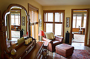 """BLUE MOUNDS—November 7, 2014: Master bedroom of """"Little Norway"""" looking out to the veranda."""