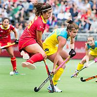 BRUSSEL - Laura Barden (Aus.) with Julia PONS (SPA)    during AUSTRALIA v SPAIN , Fintro Hockey World League Semi-Final (women) . COPYRIGHT KOEN SUYK