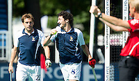 ANTWERP -    Simon Martin Brisac (r) has scored for France and celebrates with Martin Genestet (l) during  the hockeymatch   for  place 7th and 8th Pakistan vs France.  WSP COPYRIGHT KOEN SUYK