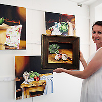 Elizebeth Flynn from California looking at some of Orla Walsh's pieces titled 'I Love Ketchup &.....' which is currently on display in The Lahinch Art Gallery at Kenny Wollen Mill in Lahinch.<br /><br /><br /><br />Photograph by Yvonne Vaughan.