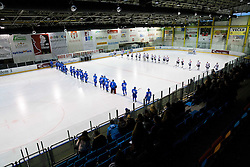 Both teams during Friendly Ice-hockey match between National teams of Slovenia and Italy on April 5, 2013 in Ice Arena Tabor, Maribor, Slovenia. (Photo By Vid Ponikvar / Sportida)