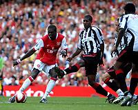 Photo: Ed Godden.<br />Arsenal v Sheffield United. The Barclays Premiership. 23/09/2006. Arsenal's Emmanuel Adebayor has a shot on goal.