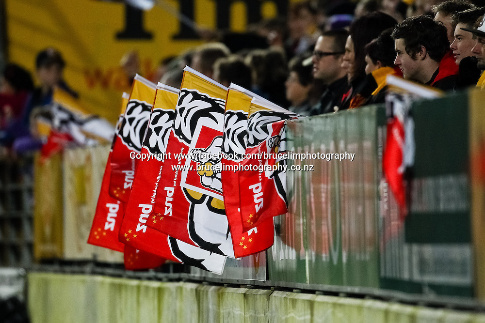 Chiefs flags during the Super 15 rugby union semi final match, Chiefs v Crusaders at Waikato Stadium, Hamilton on Saturday 27 July 2013.  Photo:  Bruce Lim / Photosport.co.nz