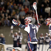 Will Manny #1 of the Boston Cannons reacts to a play during the game at Harvard Stadium on May 10, 2014 in Boston, Massachusetts. (Photo by Elan Kawesch)