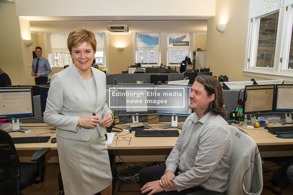 Pictured: First Minister Nicola Sturgeon and Thomas Newman<br /> <br /> Ahead of the Programme for Government, First Minister Nicola Sturgeon visited  IT company  Digital Net in Edinburgh.  DIgital Net use innovative digital training to upskill their young workforce. During the visit, Ms Sturgeon met modern apprentices taking part in a digital skills lesson in their dedicated digital skills classroom.<br /> <br /> Ger Harley: 5 September 2017