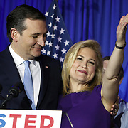 Republican Presidential candidate Ted Cruz and his wife Heidi celebrate his victory in the Wisconsin primary Tuesday April 5, 2016. <br /> Photography by Jose More