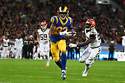 LA Rams Wide Receiver Josh Reynolds (83) runs to the end zone during the International Series match between Los Angeles Rams and Cincinnati Bengals at Wembley Stadium, London, England on 27 October 2019.
