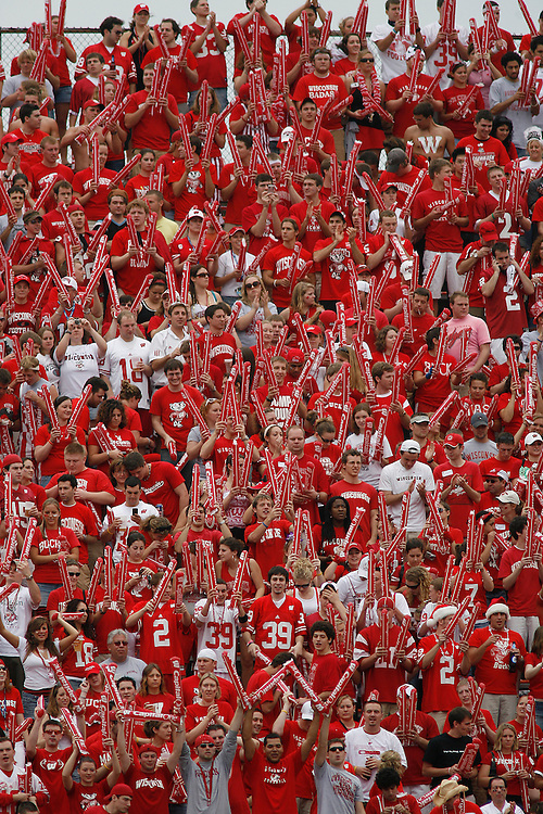 University of Wisconsin fans cheer during the Wisconsin Badgers 17-14 victory over the Arkansas Razorbacks in the Capital One Bowl at the Florida Citrus Bowl Stadium in Orlando, Florida on January 1, 2007.