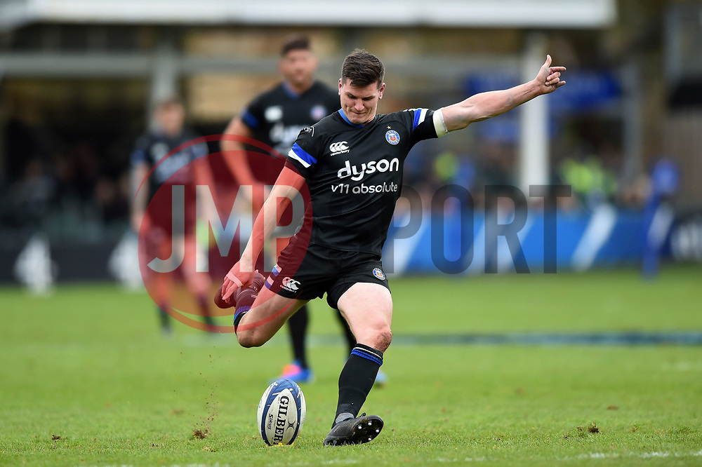Freddie Burns of Bath Rugby kicks for the posts - Mandatory byline: Patrick Khachfe/JMP - 07966 386802 - 16/11/2019 - RUGBY UNION - The Recreation Ground - Bath, England - Bath Rugby v Ulster Rugby - Heineken Champions Cup