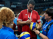 Katowice, Poland - 2017 September 01: SO Ambassador Vladimir &quot;Vanja&quot; Grbic a former Serbian volleyball player (he won a gold medal in the 2000 Summer Olympics and a bronze medal in 1996 at Atlanta) signs his autographs on Mikasa balls while Opening Ceremony during European Unified Volleyball Tournament 2017 at Spodek Hall on September 01, 2017 in Katowice, Poland.<br /> <br /> Adam Nurkiewicz declares that he has no rights to the image of people at the photographs of his authorship.<br /> <br /> Picture also available in RAW (NEF) or TIFF format on special request.<br /> <br /> Any editorial, commercial or promotional use requires written permission from the author of image.<br /> <br /> Image can be used in the press when the method of use and the signature does not hurt people on the picture.<br /> <br /> Mandatory credit:<br /> Photo by &copy; Adam Nurkiewicz / Mediasport