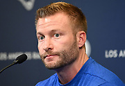 Apr 23, 2019; Thousand Oaks, CA, USA; Los Angeles Rams coach Sean McVay addresses the media at a press conference at Cal Lutheran University prior to the 2019 NFL Draft.