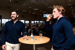 Matti Williams and Tom Howe of Worcester Warriors drink Wenlock Spring Water - Mandatory by-line: Robbie Stephenson/JMP - 15/02/2020 - RUGBY - Sixways Stadium - Worcester, England - Worcester Warriors v Bath Rugby - Gallagher Premiership Rugby