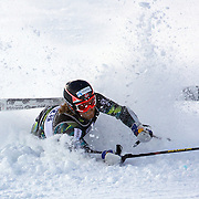 Leif Kristian Haugen, Norway, crashes during the Men's Slalom event during the Winter Games at Cardrona, Wanaka, New Zealand, 24th August 2011. Photo Tim Clayton...