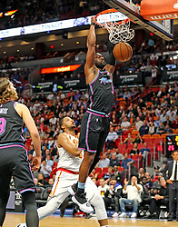 November 27, 2018 - Miami, FL, USA - Miami Heat's Dwyane Wade dunks the ball in the first quarter against the Atlanta Hawks on Tuesday, Nov. 27, 2018 at the AmericanAirlines Arena in Miami, Fla. (Credit Image: © Charles Trainor Jr/Miami Herald/TNS via ZUMA Wire)