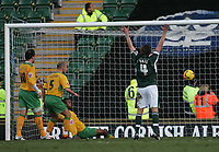 Photo: Lee Earle.<br /> Plymouth Argyle v Norwich City. Coca Cola Championship.<br /> 14/01/2006. Plymouth's Lilian Nalis (R) celebrates their first goal going in.