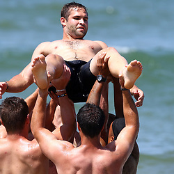 DURBAN, SOUTH AFRICA, December 10. 2015 - Cobus Reinach during The Cell C Sharks Pre Season Beach South Beach training for the 2016 Super Rugby Season . (Photo by Steve Haag)<br /> images for social media must have consent from Steve Haag