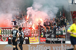 02.04.2016, Coface Arena, Mainz, GER, 1. FBL, 1. FSV Mainz 05 vs FC Augsburg, 28. Runde, im Bild Augsburger Fans vermummt mit Bengalos // during the German Bundesliga 28th round match between 1. FSV Mainz 05 and FC Augsburg at the Coface Arena in Mainz, Germany on 2016/04/02. EXPA Pictures © 2016, PhotoCredit: EXPA/ Eibner-Pressefoto/ Neis<br /> <br /> *****ATTENTION - OUT of GER*****