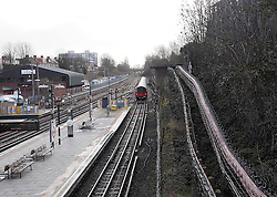 A Northern line train arrives at Finchley Central during the London Underground Train Strike.the Northern line was the only London underground line to operate normally during the 48 hour strike Wednesday, London, United Kingdom, 5th February 2014. Picture by Max Nash / i-Images