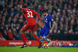 LIVERPOOL, ENGLAND - Tuesday, January 31, 2017: Chelsea's Diego Costa wins a penalty as Liverpool's Joel Matip makes a tackle during the FA Premier League match at Anfield. (Pic by David Rawcliffe/Propaganda)