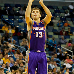 February 2, 2012; New Orleans, LA, USA; Phoenix Suns point guard Steve Nash (13) shoots against the New Orleans Hornets during a game at the New Orleans Arena. The Suns defeated the Hornets 120-103.  Mandatory Credit: Derick E. Hingle-US PRESSWIRE