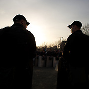 DONETSK, UKRAINE - April 17, 2014: Ukrainian riot policemen take guard at a pro-Ukraine rally in central Donetsk.
