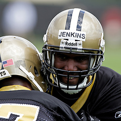 08 May 2009: Saints first round draft selection Malcom Jenkins (27) and safety Chip Vaughn (37) a fourth round selection participate together in drills during the New Orleans Saints  rookie minicamp held at the team's practice facility in Metairie, Louisiana.