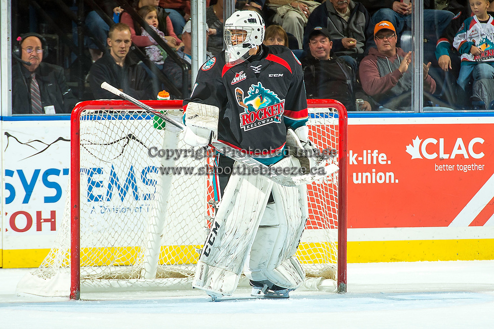 KELOWNA, CANADA - OCTOBER 4: James Porter #1 of the Kelowna Rockets stands in net against the Victoria Royals on October 4, 2017 at Prospera Place in Kelowna, British Columbia, Canada.  (Photo by Marissa Baecker/Shoot the Breeze)  *** Local Caption ***