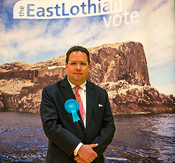 Haddington & Lammermuir by-election count. Haddington, East Lothian, Scotland, United Kingdom, 10 May 2019. Pictured: Stuart Craig Hoy, Scottish Conservative and Unionist Party with over 2,000 votes. The election takes place of one councillor in Ward 5 of East Lothian Council due to the resignation of Councillor Brian Small. The successful candidate represents this ward along with the three existing councillors. The by-election uses the Single Transferable Vote (STV) system in which voters can rank candidates in order of preference and can choose to vote for as many or as few candidates as they like. The election fields 5 candidates from Scottish National Party (SNP), Scottish Labour Party, Scottish Conservatives and Unionist Party, Scottish Liberal Democrats and UK Independence Party (UKIP).<br /> <br /> Sally Anderson | EdinburghElitemedia.co.uk