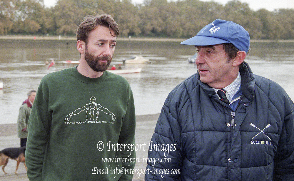 Putney. London. GREAT BRITAIN;  Left, Peter HAINING and right, Times Rowing Correspondent, Mike ROSEWELL.<br /> <br /> 1995 Thames World Sculling Championships, Putney to Mortlake. Championship Course, River Thames.<br /> <br /> [Mandatory Credit; &quot;Photo, Peter Spurrier/Intersport-images]