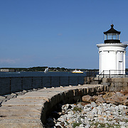 Portland Breakwater Lighthouse also called Bug Light in South Portland at the entrance to Portland's harbor from Casco Bay, Maine, USA.