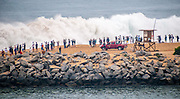 Spectators at the Wedge in Newport Beach California