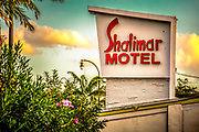 A pylon-mounted sign on the Shalimar Motel, a Miami Modern landmark  designed by architect Edwin Reeder in 1951