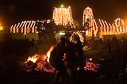 SRI LANKA...Udappuwa festival, the preparation for the fire walking. The pit is prepared. The burning wood levelled, the embers shaped into a rectangular pit.