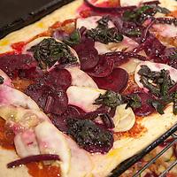 Beet, chard and lemon cucumber pizza.