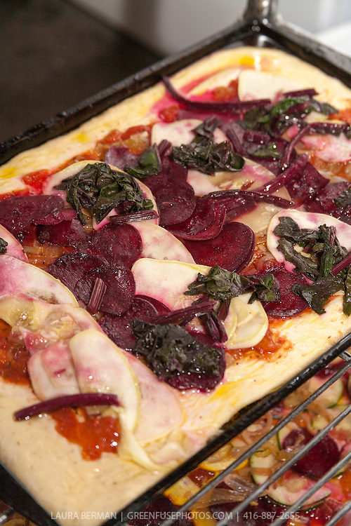 Beet, chard and lemon cucumber pizza.