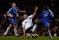 Photo: Ed Godden.<br />Chelsea v Fulham. The Barclays Premiership. 30/12/2006.<br />Chelsea's Claude Makalele (R), loses the ball to Frank Queudrue (C).