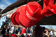 """Madison, Mississippi, March 7, 2016  Trump 'Make America Great"""" hats for sale outside the Republican presidential candidate Donald Trump rally the day before Mississippi primary."""