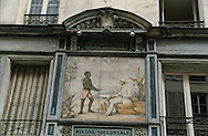 France. Paris. 1st district.  old painting in montorgeuil street