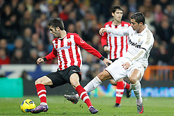 22.01.2012, Santiago Bernabeu Stadion, Madrid, ESP, Primera Division, Real Madrid vs Athletic Bilbao, 1. Spieltag, Nachtrag, im Bild Real Madrid's Cristiano Ronaldo and Athletic de Bilbao's // during the football match of spanish 'primera divison' league, 1th round, supplement, between Real Madrid and Athletic Bilbao at Santiago Bernabeu stadium, Madrid, Spain on 2012/01/22. EXPA Pictures © 2012, PhotoCredit: EXPA/ Alterphotos/ Cesar Cebolla..***** ATTENTION - OUT OF ESP and SUI *****