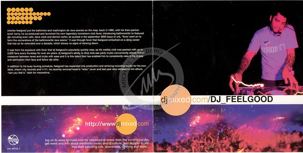 """CD Cover for DJ Charles Feelgood's """"DJMixed"""" album, from Moonshine Music."""