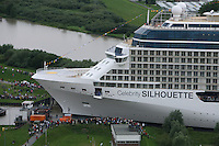 Celebrity Cruises' new ship Celebrity Silhouette begins it's 42 KM transit backwards down the river Ems navigating several narrow gaps with less than    0.75M clearance each side. .The transit  to the sea takes 12 hours. The Ship will be officially launched at it's naming ceremony in Hamburg on 21st July 2011...