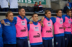 SWANSEA, ENGLAND - Friday, September 4, 2009: Italy's Federico Macheda sings the national anthem as a substitute before the UEFA Under 21 Championship Qualifying Group 3 match against Wales at the Liberty Stadium. (Photo by Gareth Davies/Propaganda)