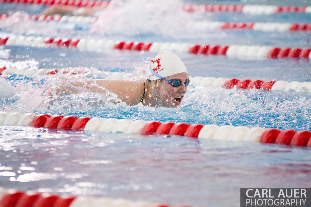 January 8, 2013: Olympic Gold Medalist and Regis Jesuit High School senior Missy Franklin swims the butterfly stroke in her return to the pool after the London Olympics during the swim meet against Highlands Ranch at Regis Jesuit High School.